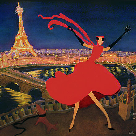 woman in red with Eiffel Tower in background