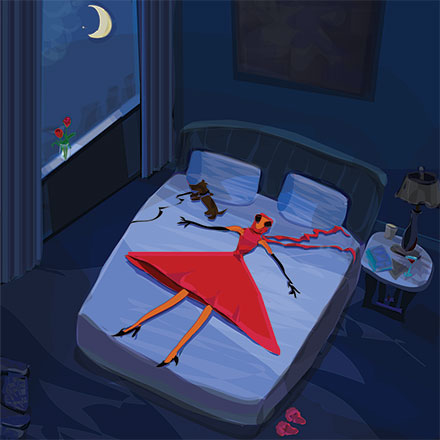 woman in red laying flattened on bed at night