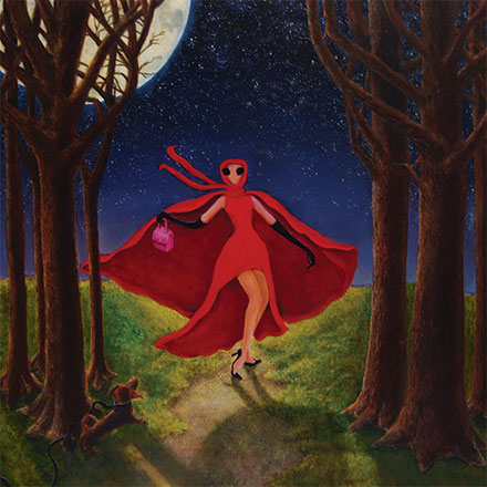 Woman with red cape walking through woods on a moonlit night with stars