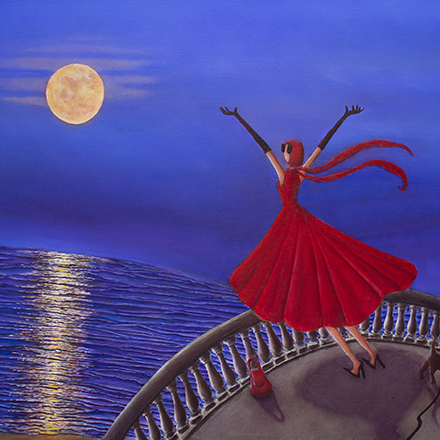 Woman in red dress looking at moon rising from the ocean
