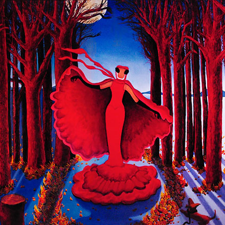 woman with red cape in night time forest