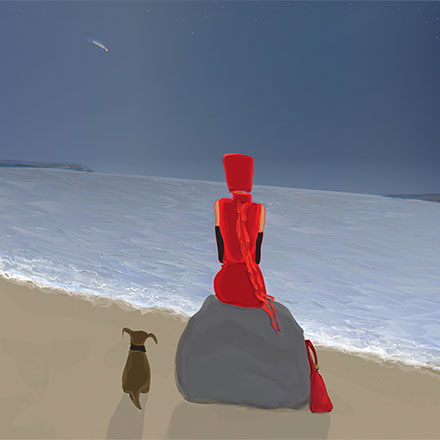 woman in red sitting by the beach