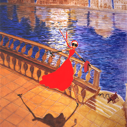 woman in red dress in Venice under moonlight