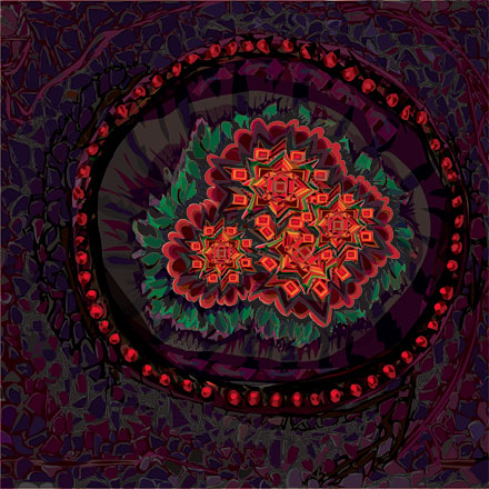 Mandala-like shape with orange flowers like hot coals surrounded with green amid glowing red pips