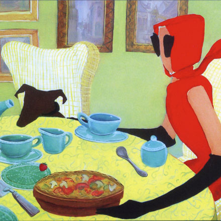 woman in red dress sitting at table with pet dog