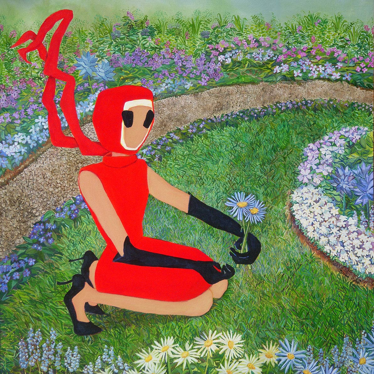 woman ib red dress kneeling by a small pond