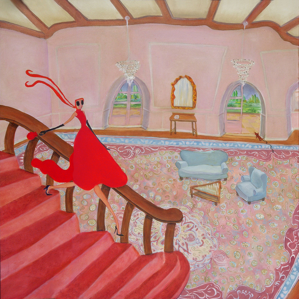 woman in red dress descending staircase pink rug walls