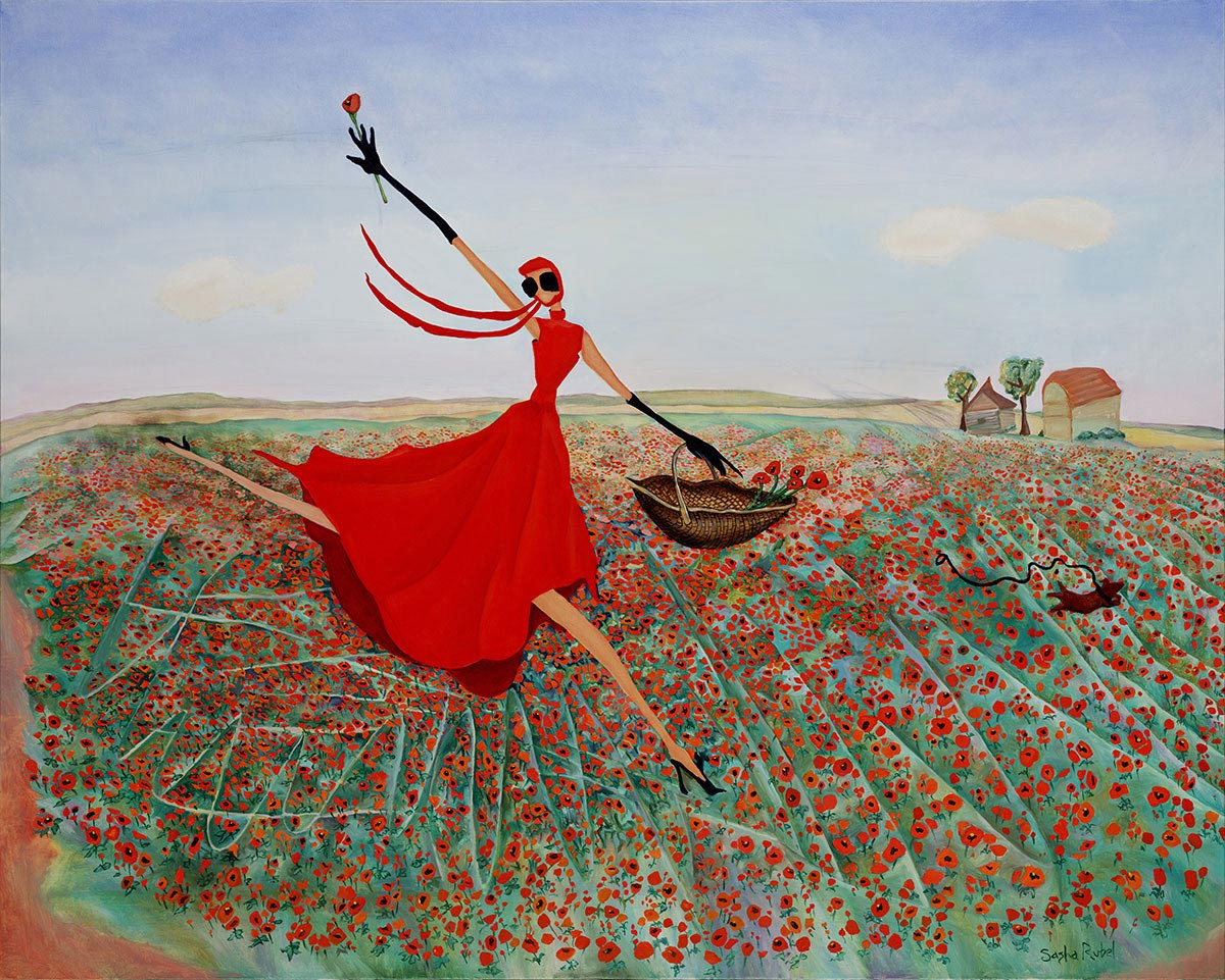 woman in red dess jumping in field of red poppies