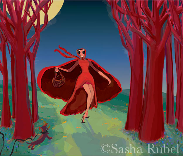 woman in red dress walking through woods on moonlit night