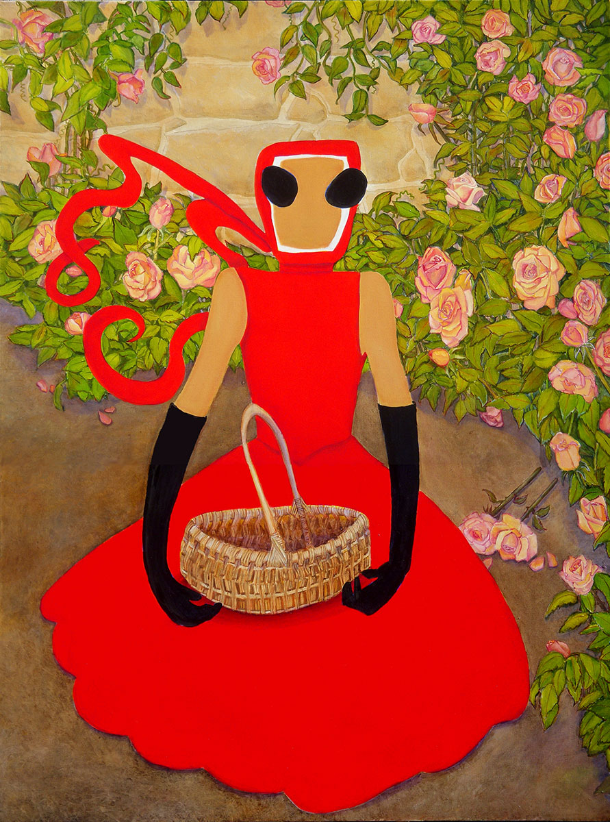 woman in red dress holding a woven basket