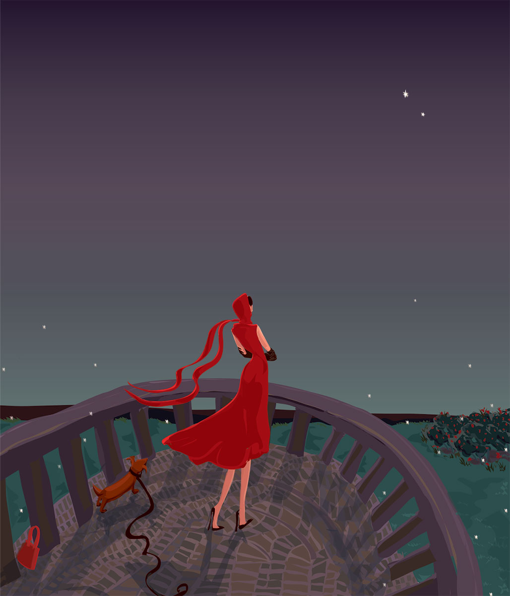woman in red gazing at night sky
