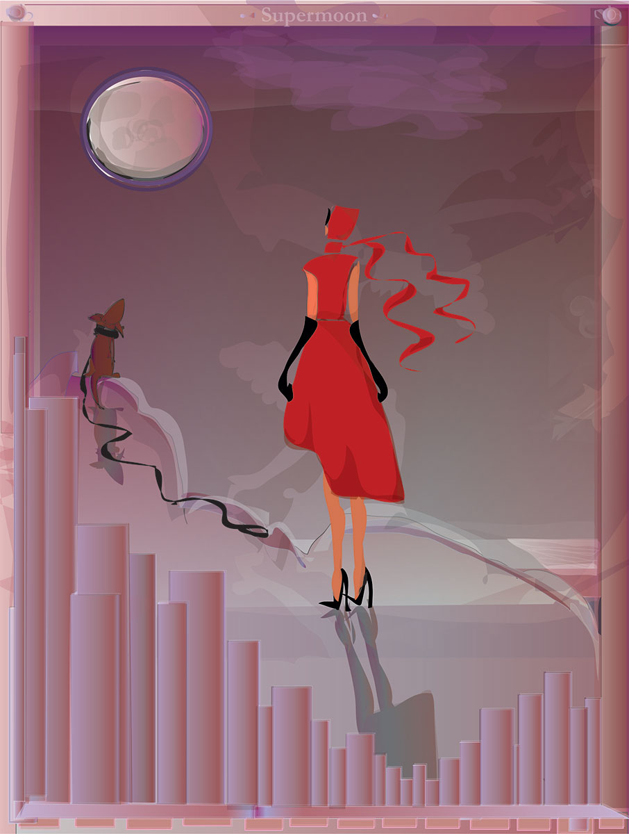 Woman in red dress facing moon her dog at her side