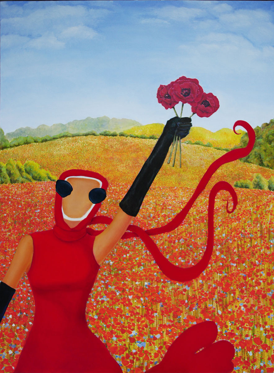 woman in red holding 3 poppies