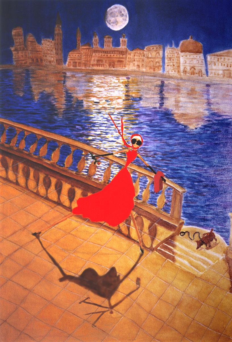 woman in red dress in Venice under moonlight