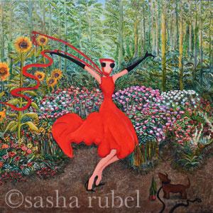 woman in red dress dancing in garden full of flowerswildflower