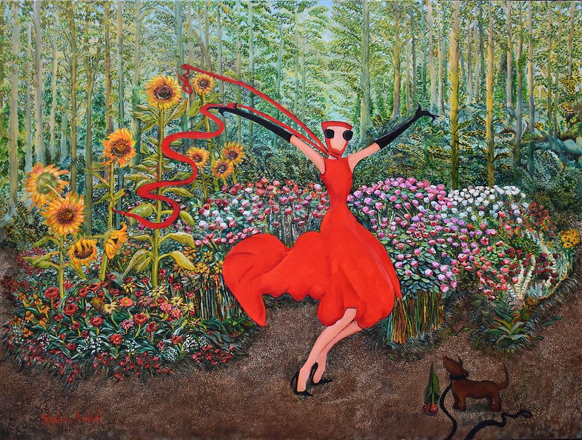 woman in red dress dancing in a garden full of flowers