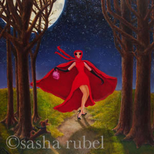woman with red cape walking thrugh woods on a moonlit night