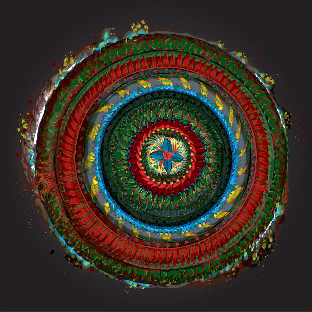 evergreen and red mandala with dynamic elements